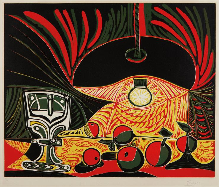 "3 A Picasso_s 1962 linocut print ""Still Life with Glass under the Lamp"" sold to an online bidder for $250,000 last month. 2017.4"