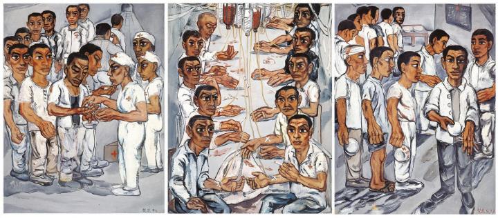 4 《协和医院系列之三》(三联作) 150×115cm×3 布面油画 1992
