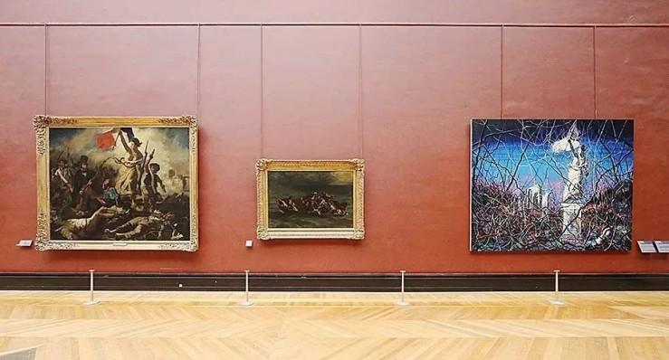 曾梵志《从1830 年至今 No.4》与德拉克洛瓦《自由引导人民》曾在卢浮宫德侬厅并置展出,2014