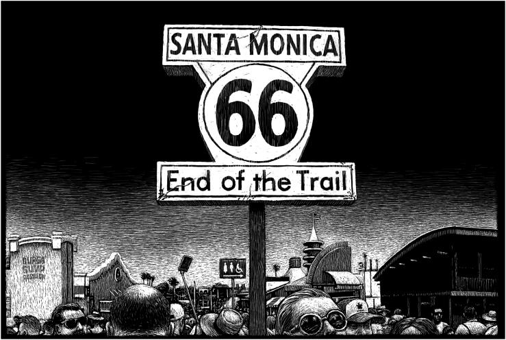 道路结束标志,圣莫妮卡码头,圣莫妮卡,加利福尼亚州